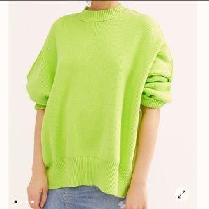 Free People Easy Street Tunic Sweater Lime Neon